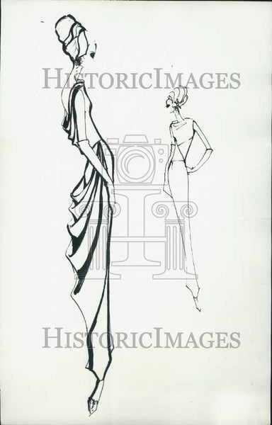 Press Photo Sketches of Modern French Clothing - Historic Images