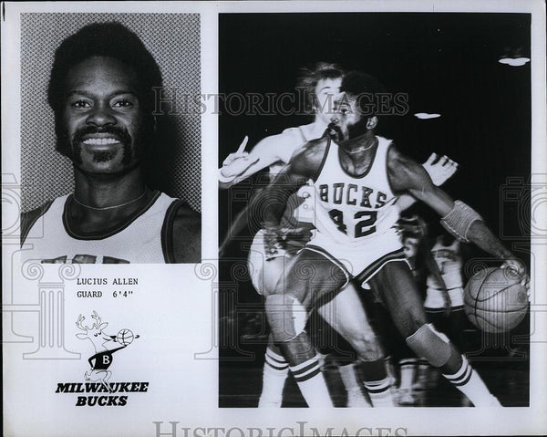 Press Photo Lucius Allen Guard #42 Milwaukee Bucks Basketball Player NBA - Historic Images