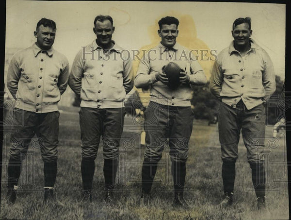 1928 Press Photo Bill Demsley Kelleher Joe McKenney Jack McManmon Football - Historic Images