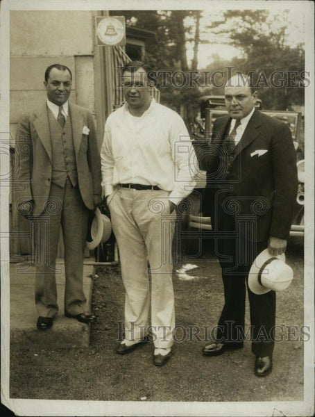 1932 Press Photo Boxer Jack Sharkey, Ernest Masini & Gene Roman - RSL46311 - Historic Images