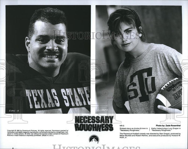 1991 Press Photo Sinbad Actor Kathy Ireland Actress Necessary Roughness Movie - Historic Images