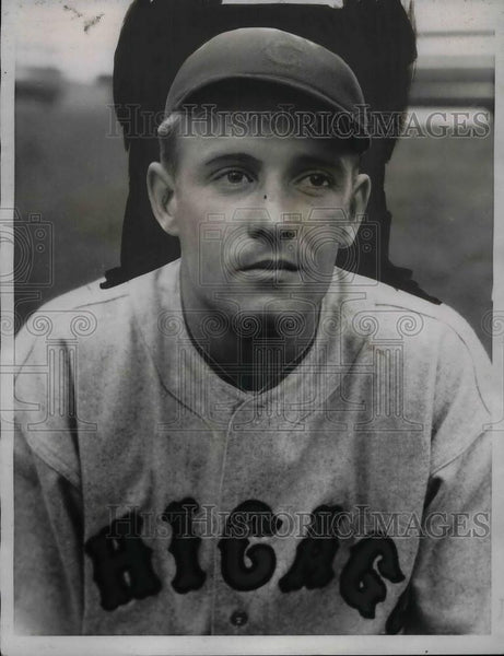 1934 Press Photo George Stainback Jr Rookie Outfielder Chicago Cubs Baseball - Historic Images
