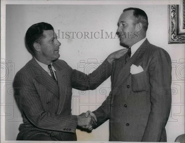 1938 Press Photo Charles Grimm, VP, Manager of the Cubs, Charles Hartnett - Historic Images