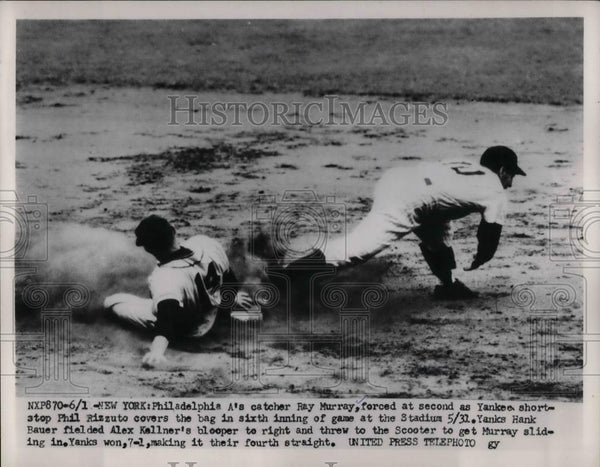 1953 Press Photo A's catcher Ray Murray, forced at 2nd, Yankee's Phil Rizzuto - Historic Images