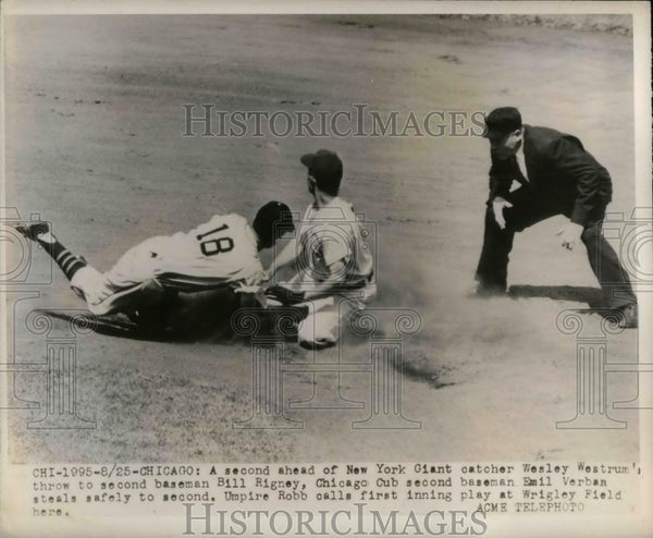 1948 Press Photo New York Giants Catcher Wesley Westrum & Cubs Bill Rigney - Historic Images