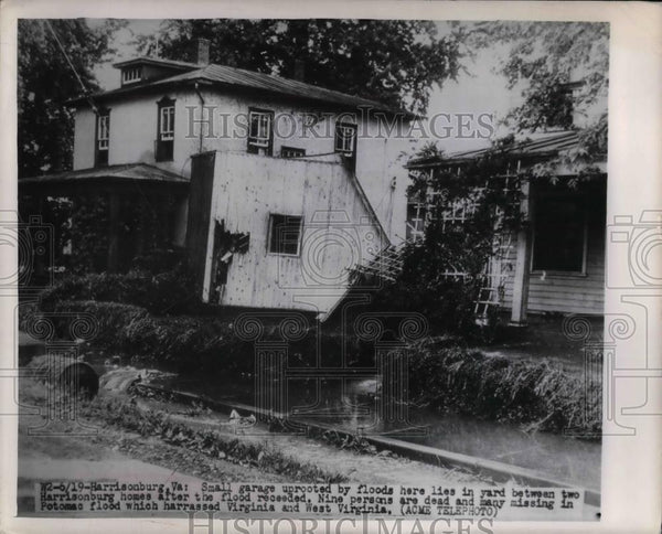 1949 Press Photo Small Garage Uprooted by Floods - nea27384 - Historic Images