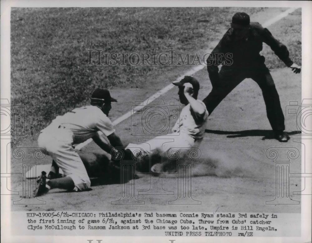 1953 Press Photo Phillies Connie Ryan steals in against the Chicago Cubs. - Historic Images