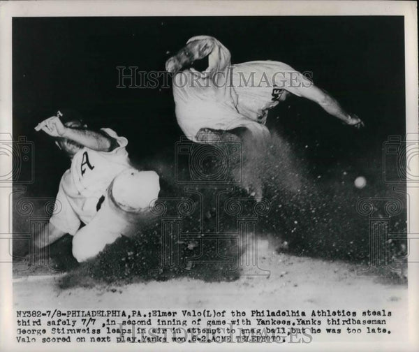 1949 Press Photo Phil, A's Elmer Valo vs Yankees George Stirnweiss - nea24244 - Historic Images
