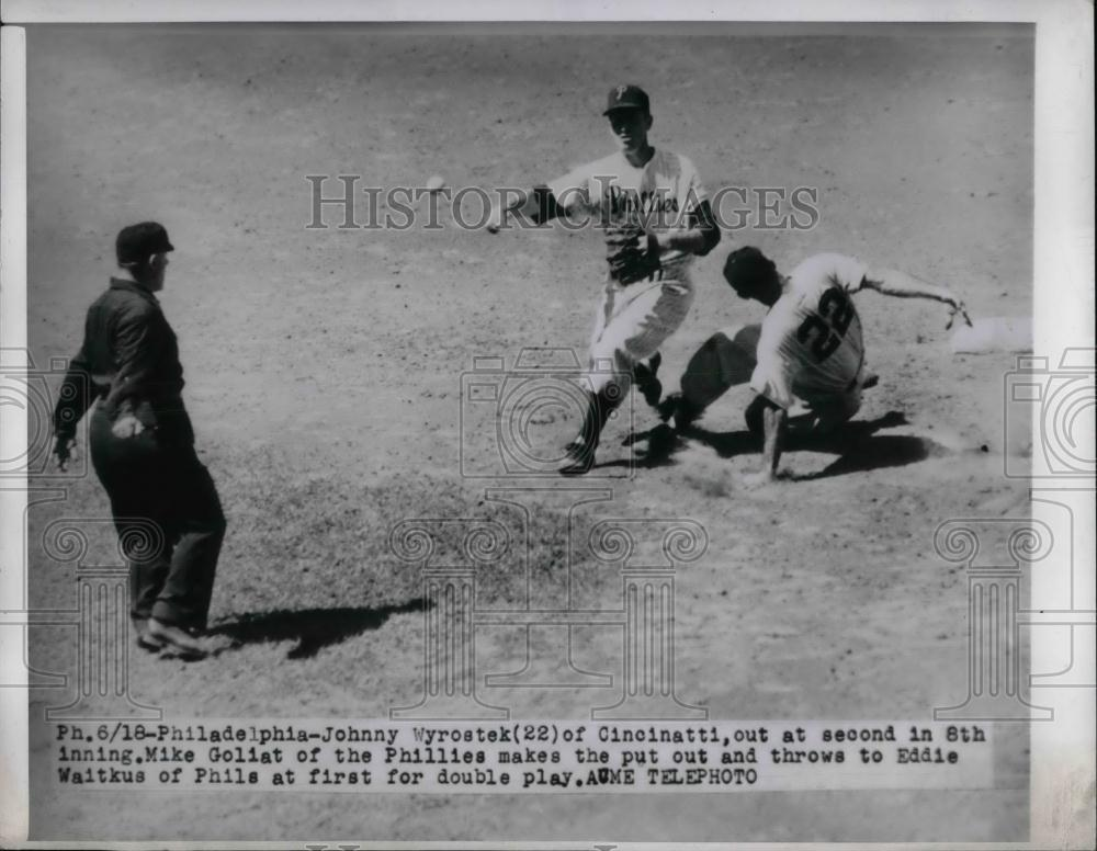 1950 Press Photo Reds Johnny Wyrostek #22 Against Phillies - nea22528 - Historic Images