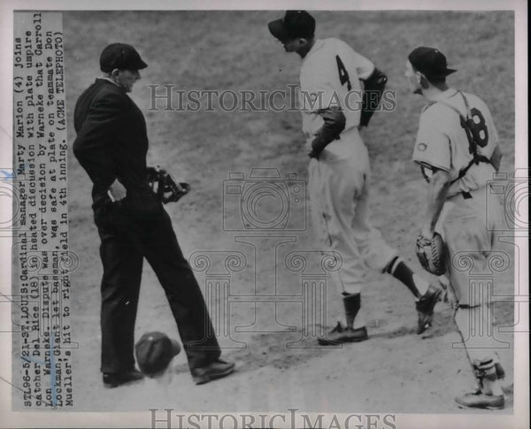 1951 Press Photo Cardinals Manager Marty Marion And Catcher Del Rice - nea22473 - Historic Images