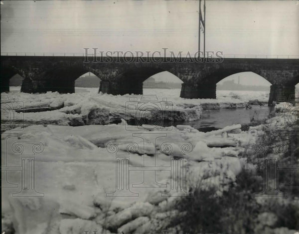 1934 Press Photo Ice Jams in Delaware River between Philadelphia PA and Trenton - Historic Images