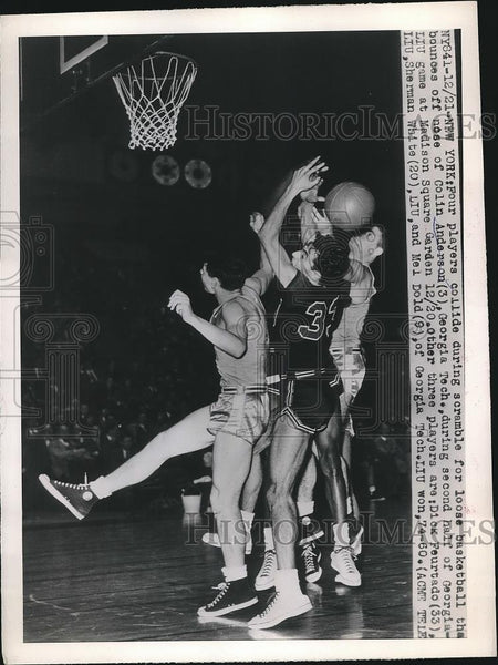 1948 Press Photo Players Collide During LIU and Georgia Tech Game - nea41147 - Historic Images