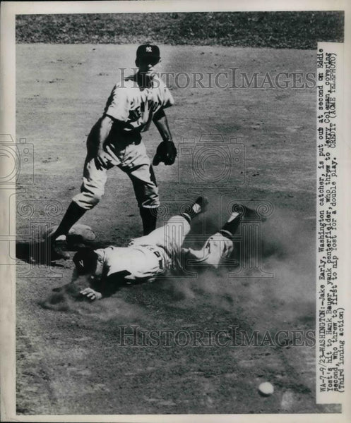 1923 Press Photo Jake Early Washington Catcher Eddie Yost Hank Bauer Yankees - Historic Images