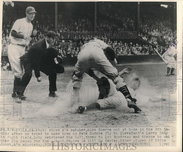 1948 Press Photo A's Catcher Mike Guerra Out at Home by Phillies Jim Hegan - Historic Images