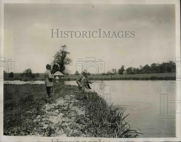 1927 Press Photo Man Catches Fish at Houghton Club - nea40378 - Historic Images