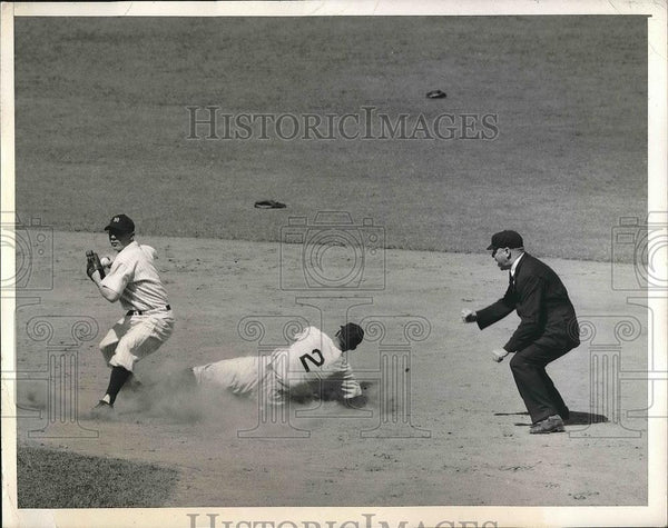 1945 Press Photo Red Sox Metkovich Sliding into Second at Yankees Game - Historic Images