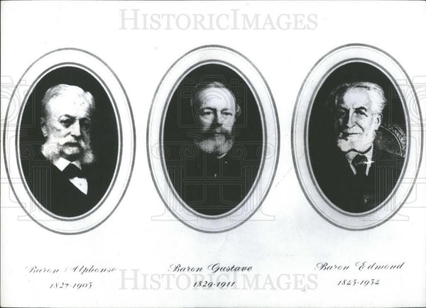 Press Photo Barons Alphonse, Guntave and Edmond Rothschilds, - Historic Images