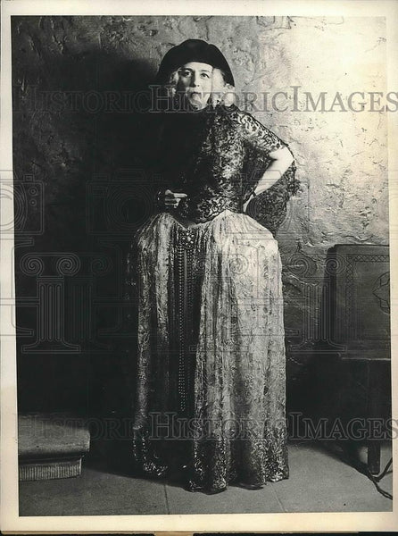 1931 Press Photo Mrs William Woods Plankinton wearing costume at Everglades Ball - Historic Images