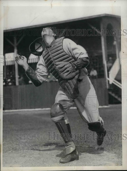 1936 Press Photo George Dickey Catcher Boston Red Sox Spring Training Camp MLB - Historic Images