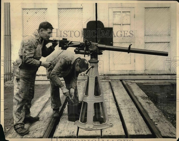 1922 Press Photo View Of One Pounder Gun Installed On Federal Booze Vessels - Historic Images