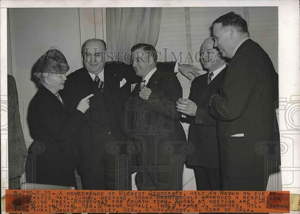 1944 Press Photo Evely Ryan, Frank McHale, F. Comfort, James Quigley, Gov. Kerr - Historic Images