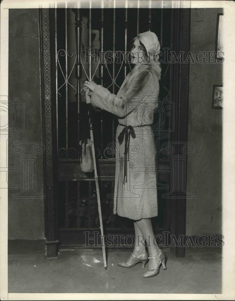 1930 Press Photo Beige Panther Fur Coat, Fitted High Yoke, Bloused Bodice - Historic Images