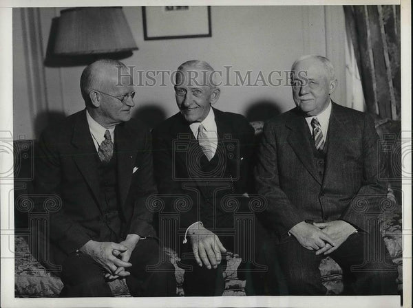 1933 Press Photo Rochester, NY Mayor Charles Owen With Edward Bausch - Historic Images