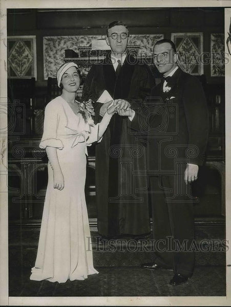 1932 Press Photo Actor Hal Shubert With Wife & Rev. Wilber T. Clemens - Historic Images