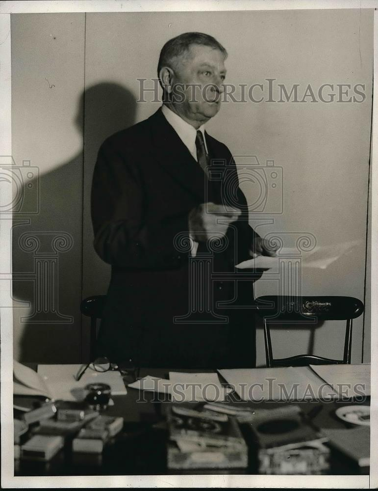 1932 Press Photo John Heydler President National League Hotel Commodore New York - Historic Images