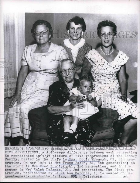 1958 Press Photo Five Generatins of Zdoncy;s Family - Historic Images