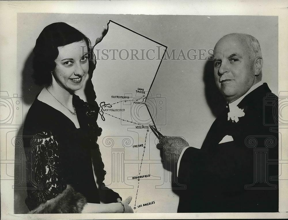 1933 Press Photo California Gov James Rolph Jr Shows Veronica Fitzpatrick - Historic Images