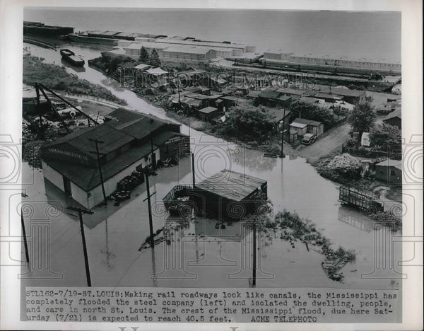 1951 Press Photo Mississippi River floods Steel Company, St. Louis, MO - Historic Images