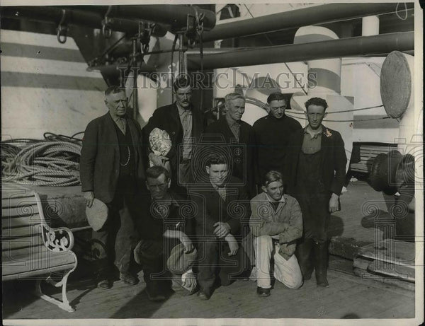 1927 Press Photo Men Adrift 96 Hours at Sea, Lovett, Kendall, Nielson, Croker - Historic Images