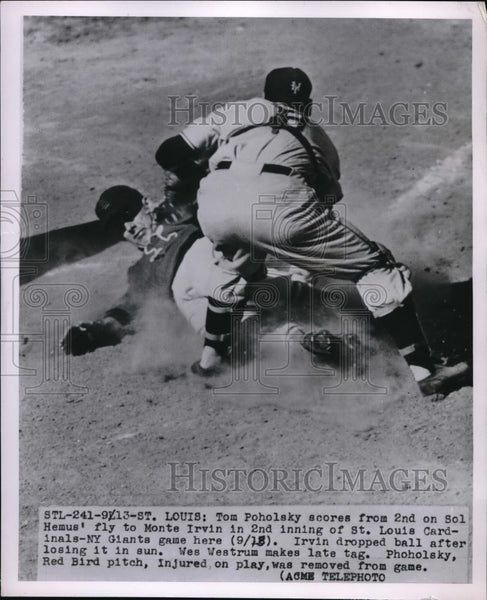 1951 Press Photo Tom Poholsky Scores In 2nd Inning of Cardinals-Giants Game - Historic Images