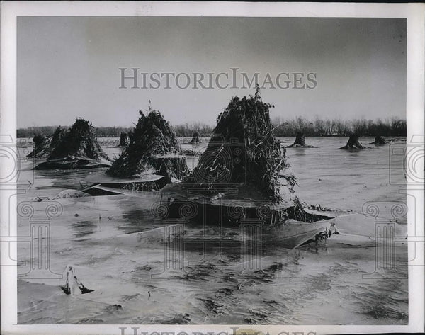 1944 Press Photo Ice Spreads Over Kansas After Floods - Historic Images