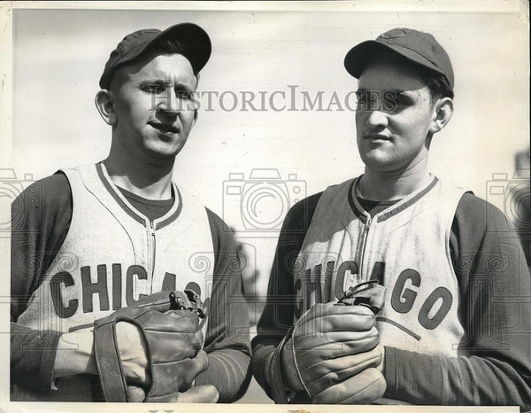 1941 Press Photo Vern Olsen, Herbert Chmiel at Chicago Cubs training camp - Historic Images