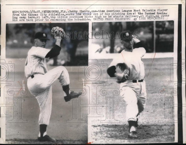 1957 Press Photo Bobby Shantz Kansas City Athletics St. Petersburg, Fla - Historic Images