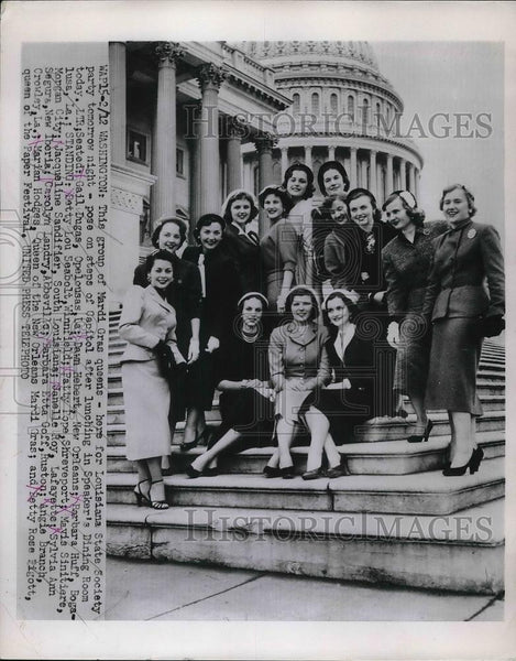 1953 Press Photo Mardi Gras Queens Louisiana State Society at Capitol in DC - Historic Images