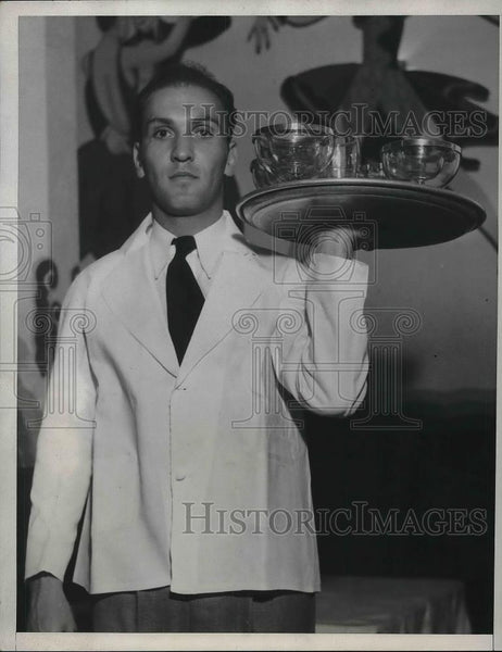 "1933 Press Photo Albert James Baron as Bus Boy in ""Hollywood Cafe"" - neb08775 - Historic Images"