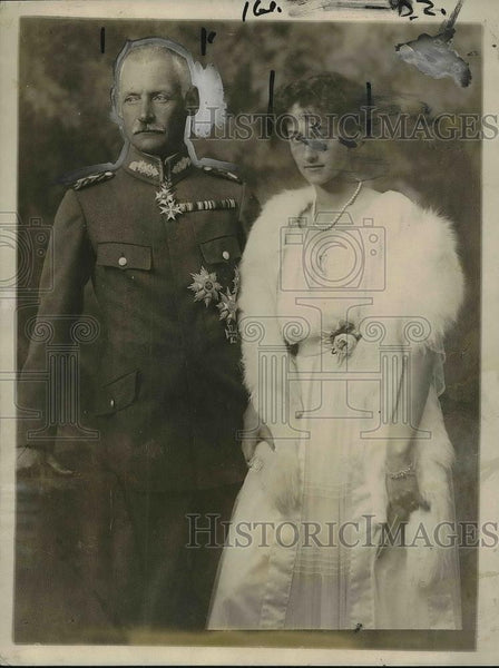 1921 Press Photo Ex Crown Prince Ruperecht of Bavaria & Princess Antoinette - Historic Images