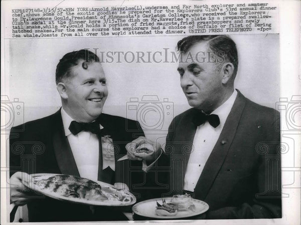 1957 Press Photo Explorer Arnold Haverlee, Dr. Lawrence Gould of Carlton College - Historic Images