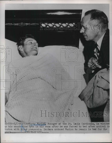1951 Press Photo Marty Marion Manager Of St. Louis Cardinals & Coach Mike Ryba - Historic Images