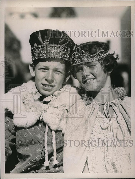 1935 Press Photo Junior Nelson, Doris J Bowers King & Queen Cal Pacific Expo - Historic Images