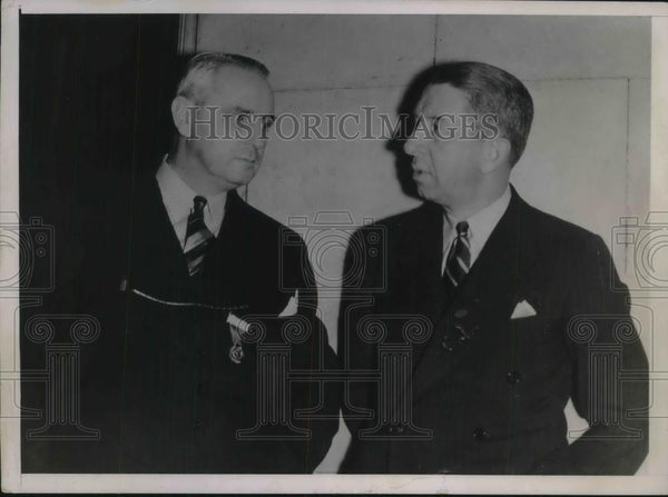 1936 Press Photo Jerry Nurgent President Of Philadelphia Club & Eddie Collins - Historic Images