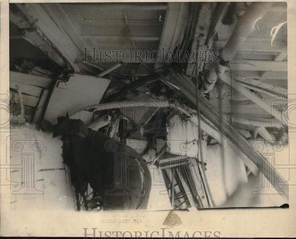 1924 Press Photo Ship SS Boston crippled by accidental ramming by Swift Arrow - Historic Images
