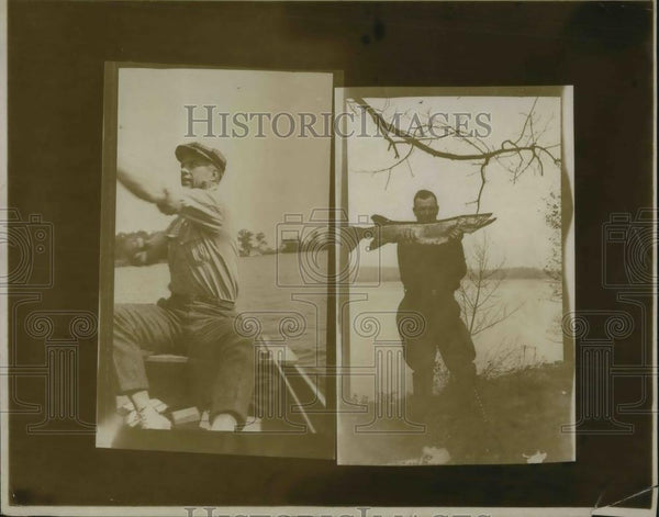 1921 Press Photo Fishermen with a large pike he caught - Historic Images