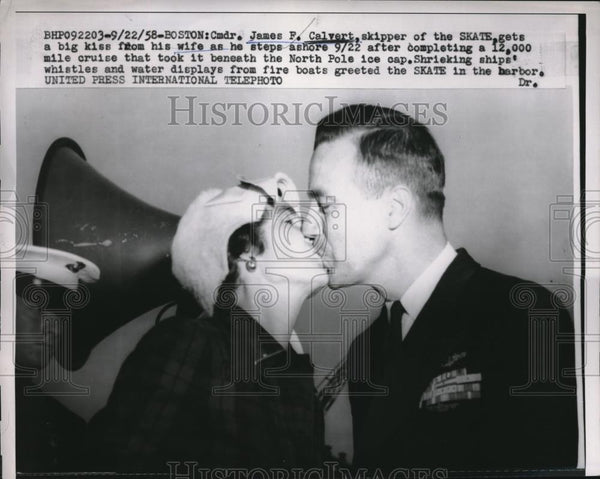 1958 Press Photo Stake Skipper James Calvert Kisses Wife Before Departing - Historic Images