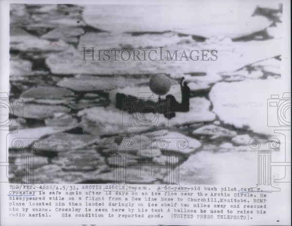 1956 Press Photo Carl Crossley, Bush Pilot, near the Arctic Circle - Historic Images