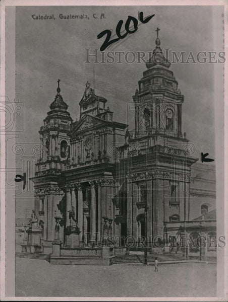 1922 Press Photo Guatemala City, drawing of the Cathedral - Historic Images