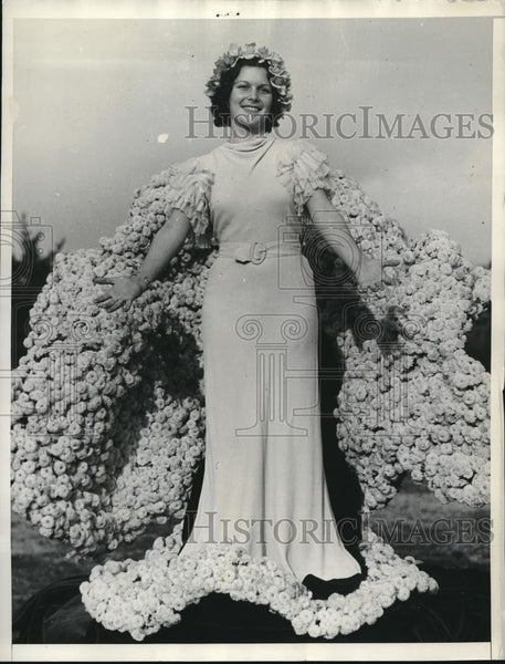 1934 Press Photo Muriel Cowana Been Pasadena tournament of Roses - Historic Images